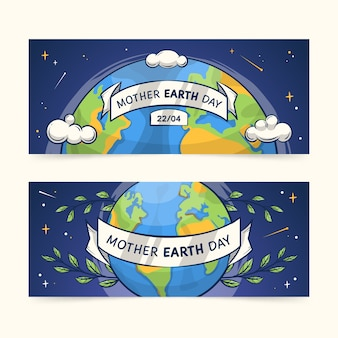Hand-drawn mother earth day banner collection theme