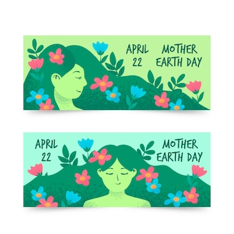 Hand-drawn mother earth day banner collection