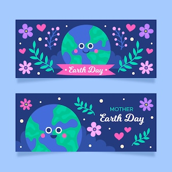 Hand drawn mother earth day banner collection