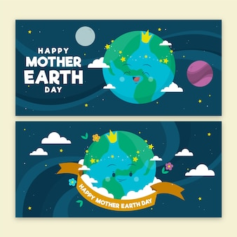 Hand-drawn mother earth day banner concept
