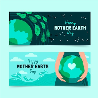 手描きの母なる地球デーのバナーセット