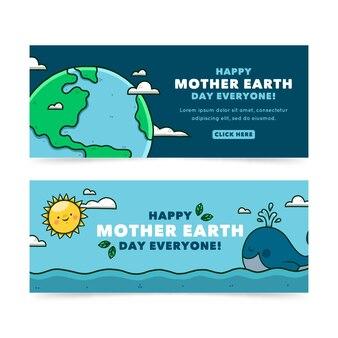 Набор рисованной баннер день матери-земли
