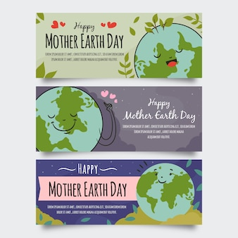 Hand-drawn mother earth day banner