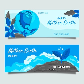 Hand drawn mother earth day banner