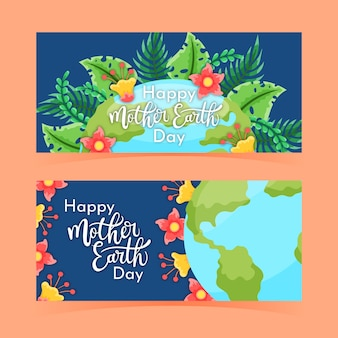 Hand drawn mother earth day banners with nature