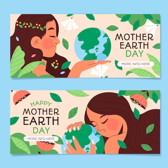 Hand drawn mother earth day banners