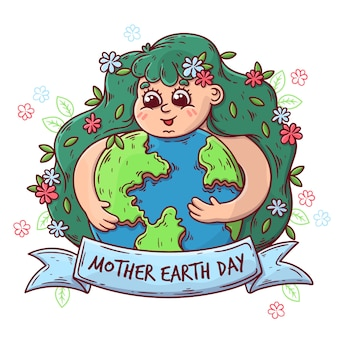 Hand-drawn mother earth day celebration