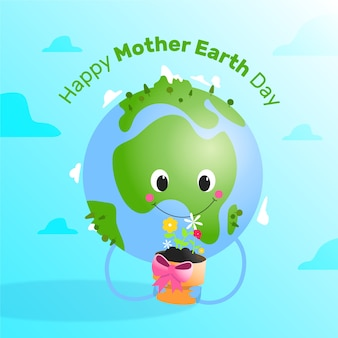Hand drawn mother earth day concept