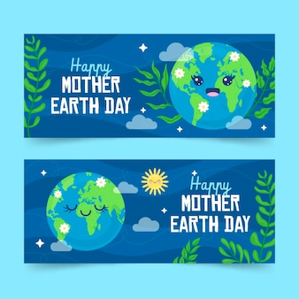 Hand drawn mother earth day horizontal banners