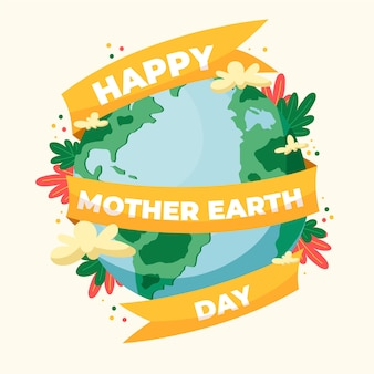 Hand drawn mother earth day illustration with lettering