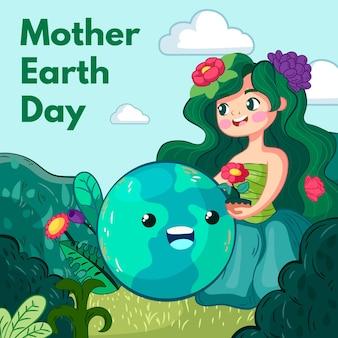Illustrazione disegnata a mano di giorno della madre terra