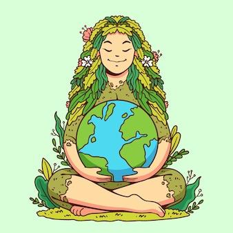 Нарисованная рукой иллюстрация дня матери-земли