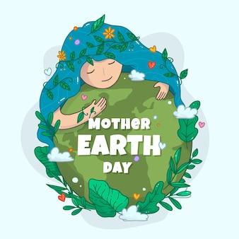 手描きの母なる地球デーのイラスト