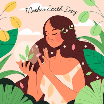 Hand drawn mother earth day illustration