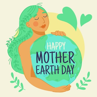 Hand drawn mother earth day wallpaper