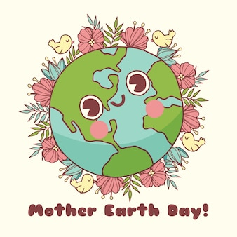 Hand drawn mother earth day with globe