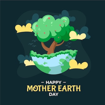 Hand drawn mother earth day with tree illustration