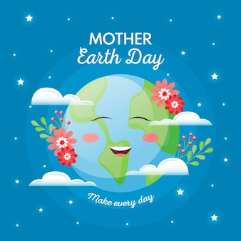 Hand-drawn mother earth day