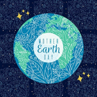 Hand drawn mother earth day