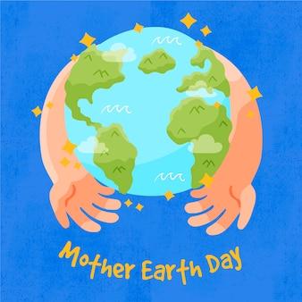 손으로 그린 어머니 지구의 날