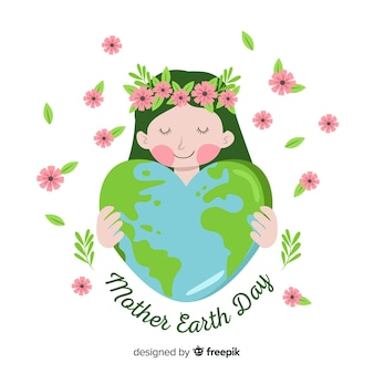 Hand drawn mother earth hugging planet background