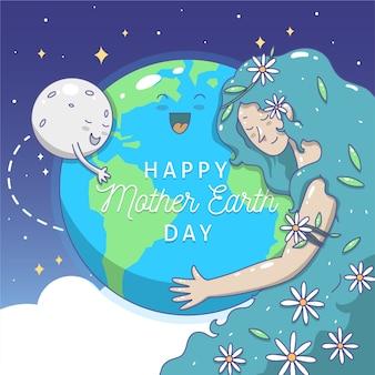 手描きの母なる地球の月と惑星を抱いて女性