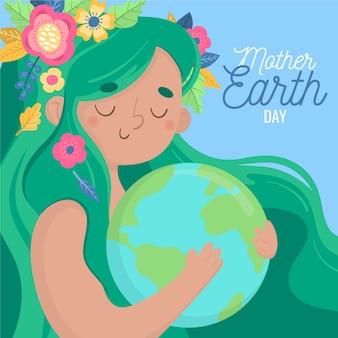 惑星を抱き締める女性と手描きの母なる地球
