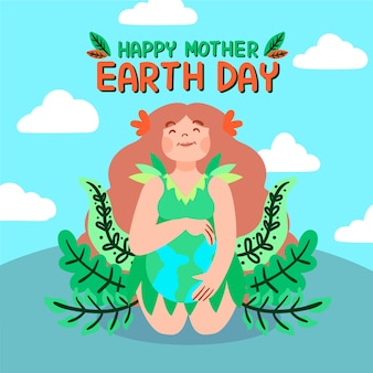 Hand drawn mother earth with woman and leaves