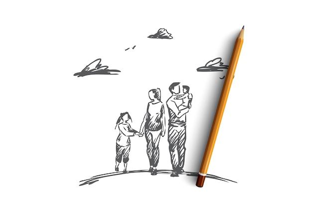 손으로 그린 된 어머니 아버지와 어린이 개념 스케치를 함께 걷는