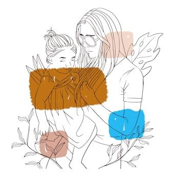 어머니의 날 라인 아트 스타일을 위해 아이를 안고 있는 손으로 그린 어머니