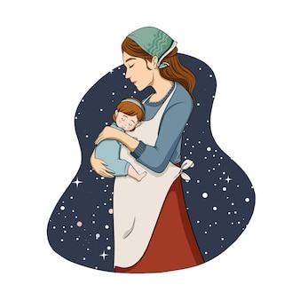 彼女の娘のイラストを抱き締める手描きの母