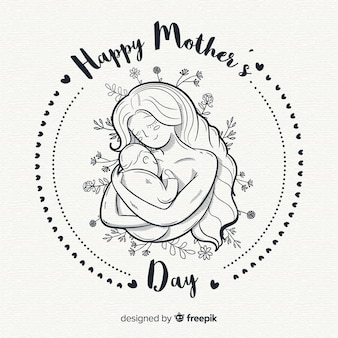 Hand drawn mother's day background