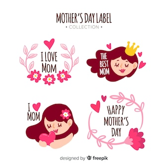 Hand drawn mother's day badge collection