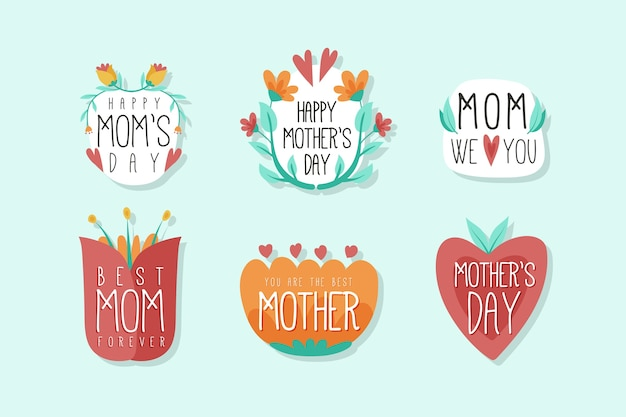 Hand drawn mother's day badges set