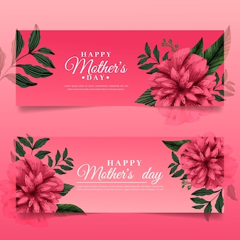Hand drawn mother's day banners collection