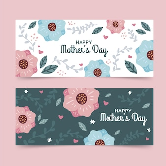 Hand drawn mother's day banners set