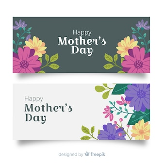 Hand drawn mother's day banners