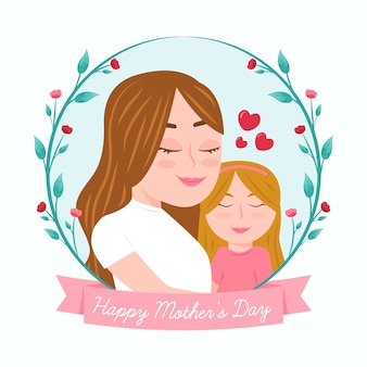 Hand drawn mother's day illustration with mom and daughter