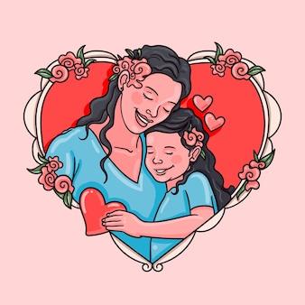 손으로 그린 어머니의 날 그림