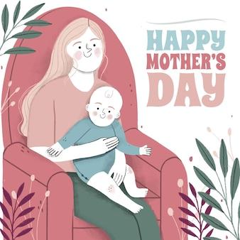 手描きの母の日のイラスト