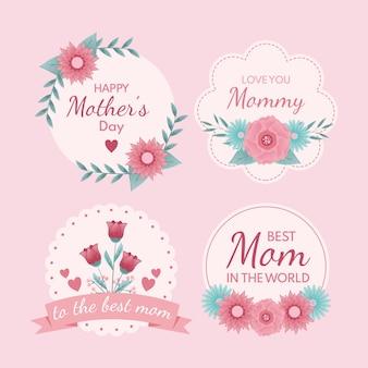 Ручной обращается коллекция этикетки день матери