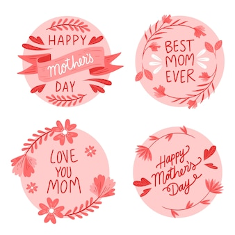 Hand drawn mother's day label collection