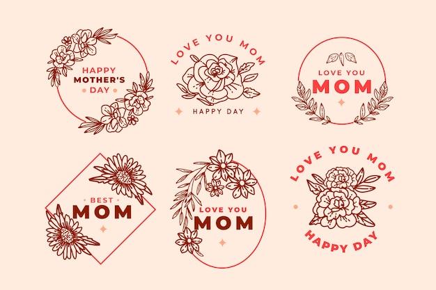 Ручной обращается день матери набор наклеек