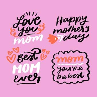 Collezione di badge festa della mamma disegnati a mano