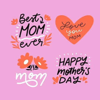 Hand drawn mothers day badge collection