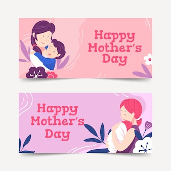 Hand drawn mothers day banners template