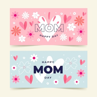 Hand-drawn mothers day banners
