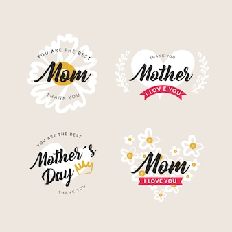 Hand-drawn mothers day label collection