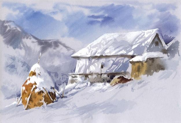 Hand drawn mountain hut in winter background