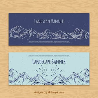 Hand drawn mountains banners